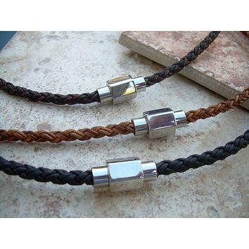 Braided Leather Necklace for Men with Hexagon Stainless Steel Magnetic Clasp, Mens Jewelry, Mens Necklace