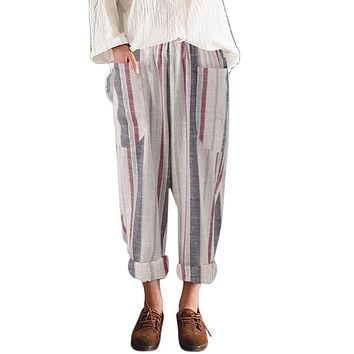 Plus Size Harem Pants Linen Striped Loose Pants Big Size Vintage Trousers Women Streetwear Korean Style Pockets Pants