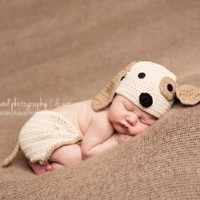 Melondipity Perfect Puppy Dog Baby Hat & Diaper Cover SET - Newborn / Infant