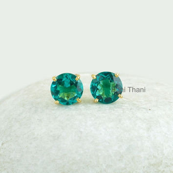 Teal Quartz Gemstone Faceted Round 10mm Micron Gold Plated 925 Sterling Silver Prong Set Stud Earrings Jewelry - #9004