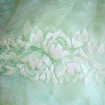 Vintage Lace Curtain Fabric  French Country Sheer Celadon Green 1930s 117 X 64 inches