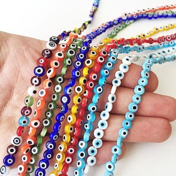 6mm flat round evil beads- Turkish evil eye- strand for red, yellow, green, blue