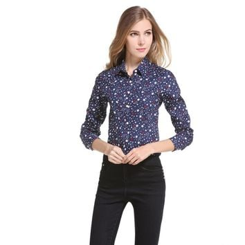 Cotton Blouses and Shirts Women 2017 Stars Printed Turn-down Collar Button Tops Long Sleeve Women Shirts Tunic Camisa Feminina