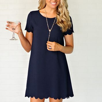 * Call Me Maybe Scallop Hem Dress : Navy