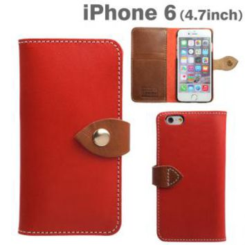 Strapya World : Brushup Standard Tochigi Leather Diary Type Case for iPhone 6 (Red)