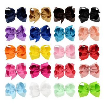 20pcs/lot 6Inch Large Hair Bows Fashion Girls'Hair Accessories Hair Clip Boutique Bows Hairpins Hair Grip Grosgrain Ribbon bows