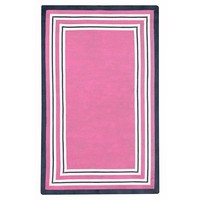 Capel Multiple Border Rug, Bright Pink/White/Royal Navy