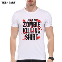 This is My Zombie Killing Shirt Funny Bloody Printed T shirt For Men Tops Tee