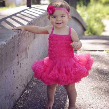Little Girls Lace Dress, Flower Girl Tulle Dress, Baby Girls Birthday Dress Rosette Ballerina Petti Dress