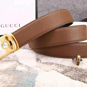 GUCCI Fashion new automatic buckle couple high quality belt Brown