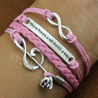 "Love, ""Where there is a will, there is a way"",Music note Bracelet-- Wax Cords Bracelet-- -Personalized Bracelet"
