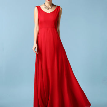 Backless Bowknot V-neck Chiffon Sleeveless A-line Maxi Dress