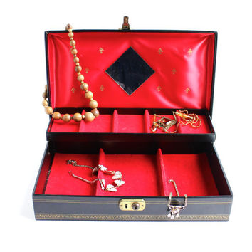 Vintage Black Jewelry Box - 1950s Mid Century Treasure Box - Golden Stars Organizer / Large Rectangular Storage
