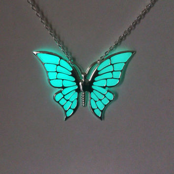 Aqua Glowing Necklace, Glowing Jewelry,  Glow in the Dark Butterfly Pendant , Gifts for Her, Valentines Day