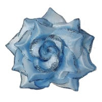 Light Blue Mini Vixen Pin Up Rose Hair Clip