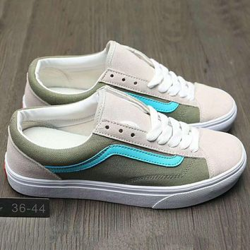 Vans Fashion Casual Canvas Old Skool Flats Sneakers Sport Shoes Army green + Grey G-A0-HXYDXPF