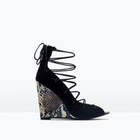 Lace-up printed leather wedge