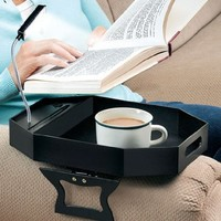 Sofa Tray Table With Light Clip-On to Armchair