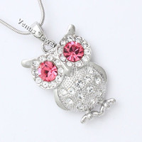 Pink Rhinestone Crystal Owl Pendant Necklace P485