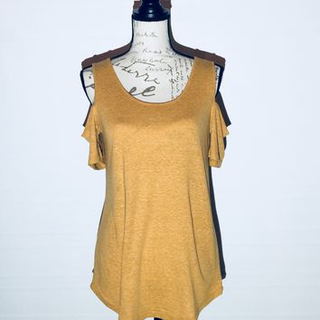 Yellow Cold Shoulder Tunic Heathered Mustard Yellow Top: XS/S/M/L