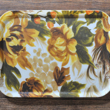 Vintage Mid Century Floral Fiberglass Lunch Tray, Earthy Colors, Floral, Retro