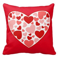 Valentine Red And Pink Hearts In Heart Pillows