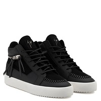 Giuseppe Zanotti Gz Clifford Black Calf Leather And Black Suede Mid-top Sneaker