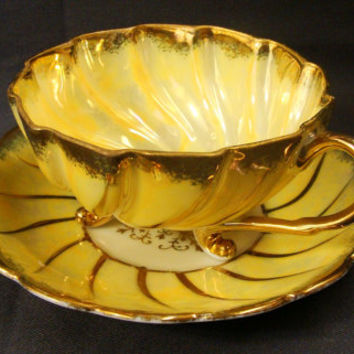 Hand Painted Yellow and Gold Three Footed Teacup and Saucer Vintage Ohashi China Japan