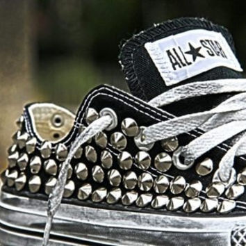 Studded Converse, Converse Black Low Top with silver cone rivet studs by CUSTOMDUO on ETSY