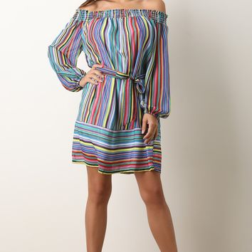 Striped Chiffon Long Puffed Sleeves Off Shoulder Shift Dress