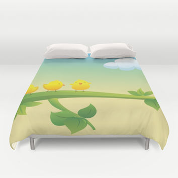 Little Feathered Friends Duvet Cover by Texnotropio