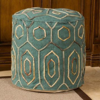 Teal Wool Pattern Embroidered Pouf Ottoman