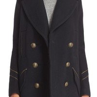 Free People 'Sedgwick' Detachable Faux Fur Collar Peacoat | Nordstrom