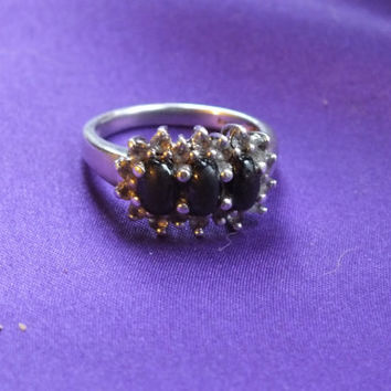 Silver Ring with 3 Black Stones and 18 Small CZ Diamonds on Silver Band, Size 7