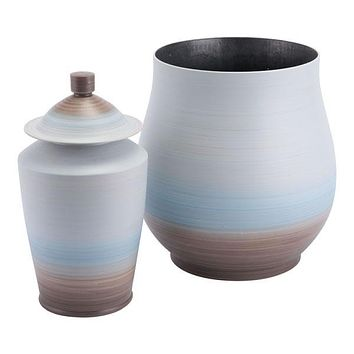 A11444 Dune Large Jar Light Blue & Brown