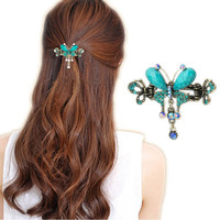 Vintage Women Elegant Turquoise Butterfly Flower Hairpins Hair Barrette Clip Crystal Butterfly Bow Hair Clip Hair Accessories