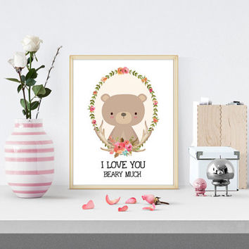 I Love You Beary Much Nursery Floral Watercolor Printable, Nursery Deer Printable,Wall Print, Antler Print, Flower Quote Print, Baby Room