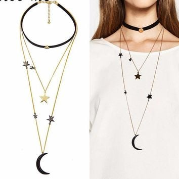 Moon & Stars Layer Necklace