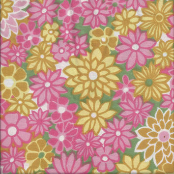 1970s Flower Power Pink & Yellow Floral Fabric, 24.75 x 106 Inches, by Style House, Montgomery Ward, Upcycle Supply, ~~by Victorian Wardrobe