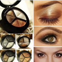Smoky cosmetic set 3 colors professional natural matte eyeshadow makeup eye shadow palette Naked Nude Eye Shadow glitter  M01348