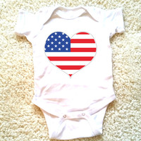 4th of July American flag heart graphic for babies, newborn, 6 months, 12 months, 18 months funny graphic baby Onesuit