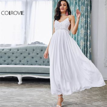 COLROVIE White Lace Maxi Party Dress Ruffle V Neck 2017 Women Sexy Backless Slip Summer Dresses Empire Slim A Line Pleated Dress