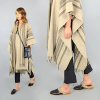 Striped WOOL Cape W/ Scarf