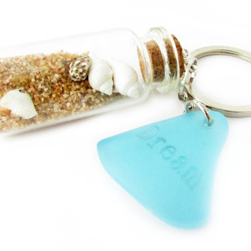 Sea Glass and Sand Bottle Keychain