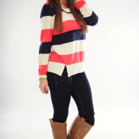 All Too Well Sweater: Pink/Navy
