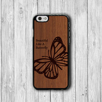 Wood Butterfly Engrave iPhone 6 Cases Dark Vintage Wooden Animal iPhone 5S, iPhone 5C, iPhone 4S, Brown Black Phone Case Mobile Accessories