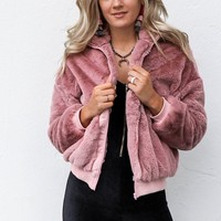 New Money Mauve Faux Rabbit Fur Zipper Jacket