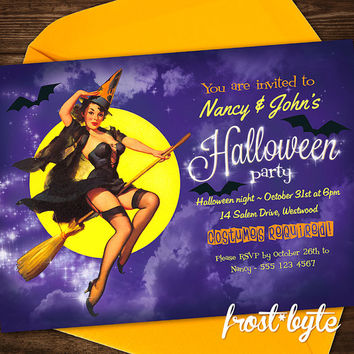 Halloween Pinup Girl Invitation - Retro witch design - customised for your party - printable file to print yourself as much as you like