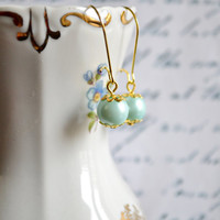 Mint Pearl Earrings Bridesmaids Earrings Flower Girl Earrings Gold Plated Mint Pearl earrings - Handmade