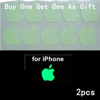 2PCS DIY Luminescent Logo sticker for Apple iphone3GS/4/4S/5 green natural light luminous sticker, Free shipping